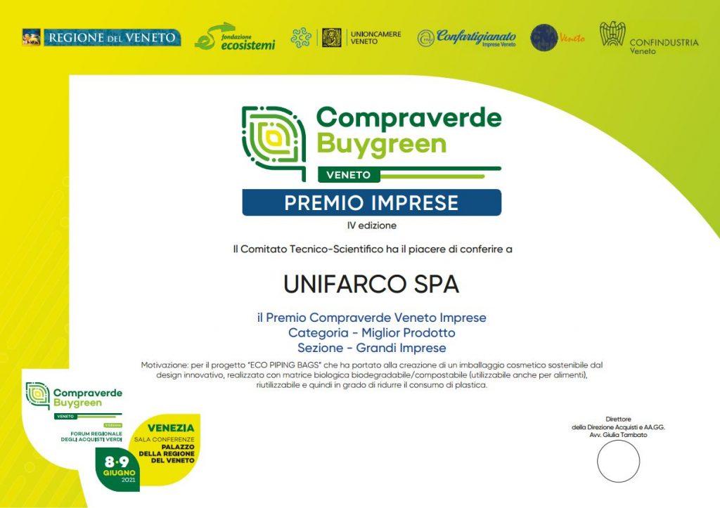 Premio Compraverde Veneto diploma
